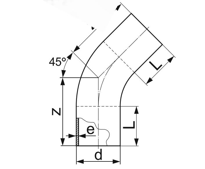 ОТВОД 45° ГНУТЫЙ (ЗАКРУГЛЕННЫЙ) ПЭ 100 D450мм.