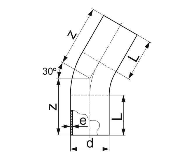 ОТВОД 30° ГНУТЫЙ (ЗАКРУГЛЕННЫЙ) ПЭ 100 D40мм.