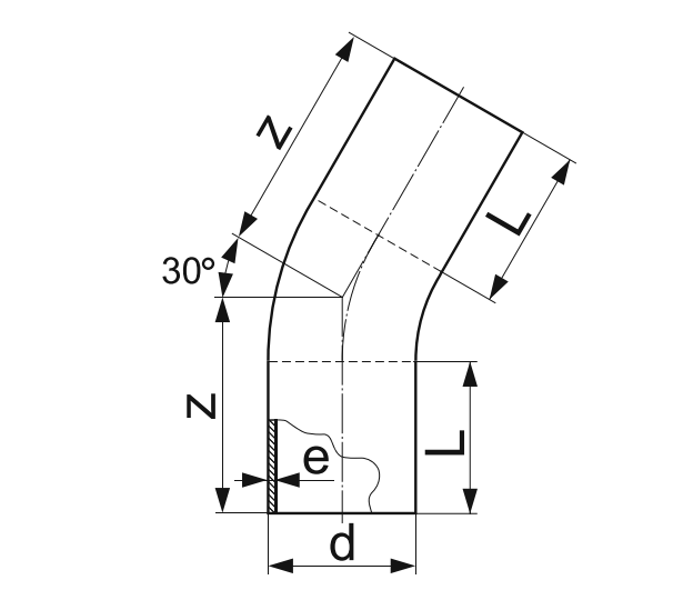 ОТВОД 30° ГНУТЫЙ (ЗАКРУГЛЕННЫЙ) ПЭ 100 D110мм.