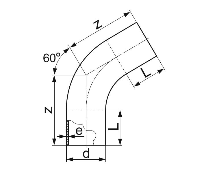 ОТВОД 60° ГНУТЫЙ (ЗАКРУГЛЕННЫЙ) ПЭ 100 D140мм.