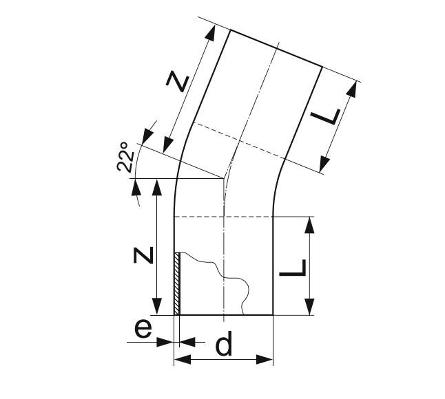 ОТВОД 22° ГНУТЫЙ (ЗАКРУГЛЕННЫЙ) ПЭ 100 D32мм.