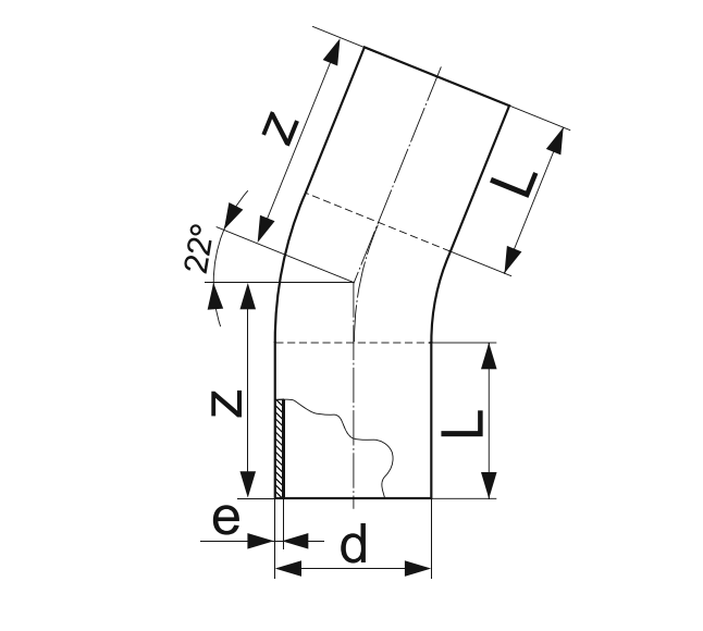 ОТВОД 22° ГНУТЫЙ (ЗАКРУГЛЕННЫЙ) ПЭ 100 D110мм.