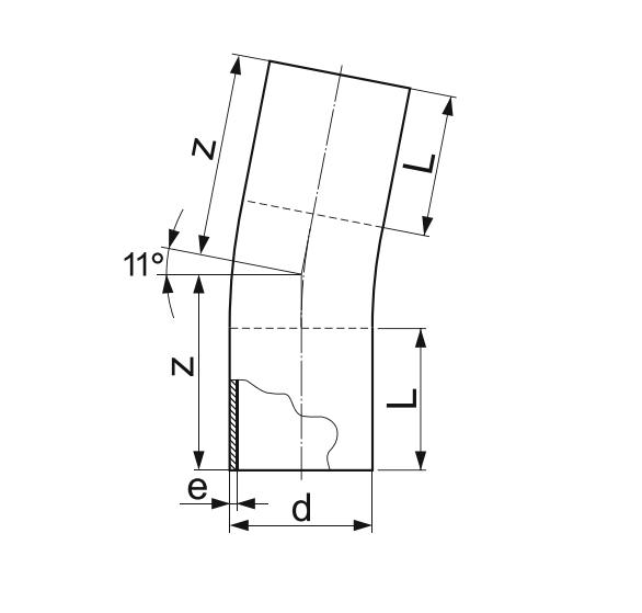 ОТВОД 11° ГНУТЫЙ (ЗАКРУГЛЕННЫЙ) ПЭ 100 D125мм.