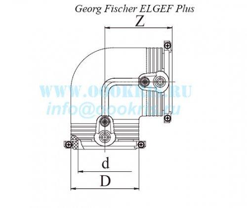 Отвод электросварной 90° ПЭ100 д.50 Georg Fischer и RADIUS