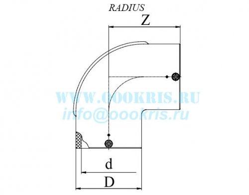 Отвод электросварной 90° ПЭ100 д.63 Georg Fischer и RADIUS