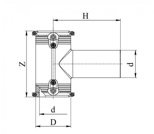 Тройник электросварной 90°ПЭ100 д.125 Georg Fischer и RADIUS Systems