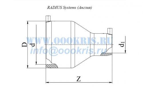 Переход редукционный электросварной ПЭ100 д.125х63 RADIUS Systems
