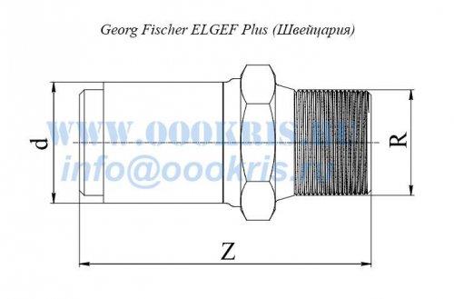 "Переход ПЭ/Латунь ПЭ100 d40*1 1/4"" Georg Fischer ELGEF Plus"