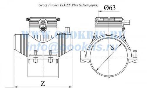 Седелочный отвод с ответной нижней частью ПЭ100 SDR11 d110х63 Georg Fischer ELGEF Plus (Швейцария)